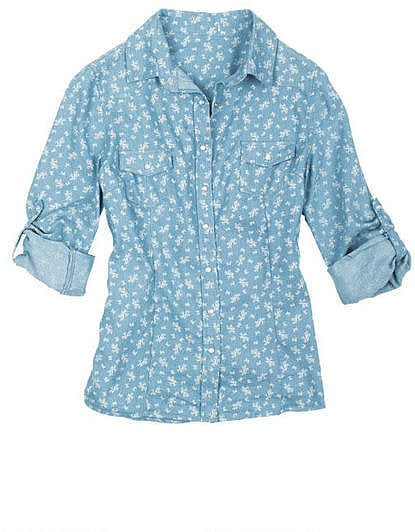 Delia 39 s light floral chambray shirt 30 is a pitch for Cuisine you chambray