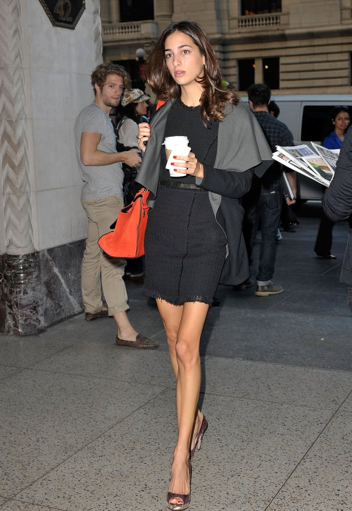 This tweedy LBD looked ultrachic alongside an orange carryall and a pair of snake-print peep-toes.