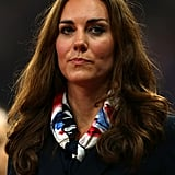 Kate drew cabin crew comparisons with her Team GB scarf.