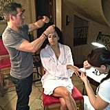 Eva Longoria got a nap in while getting her hair and makeup done at 5 a.m. Source: Eva Longoria on WhoSay