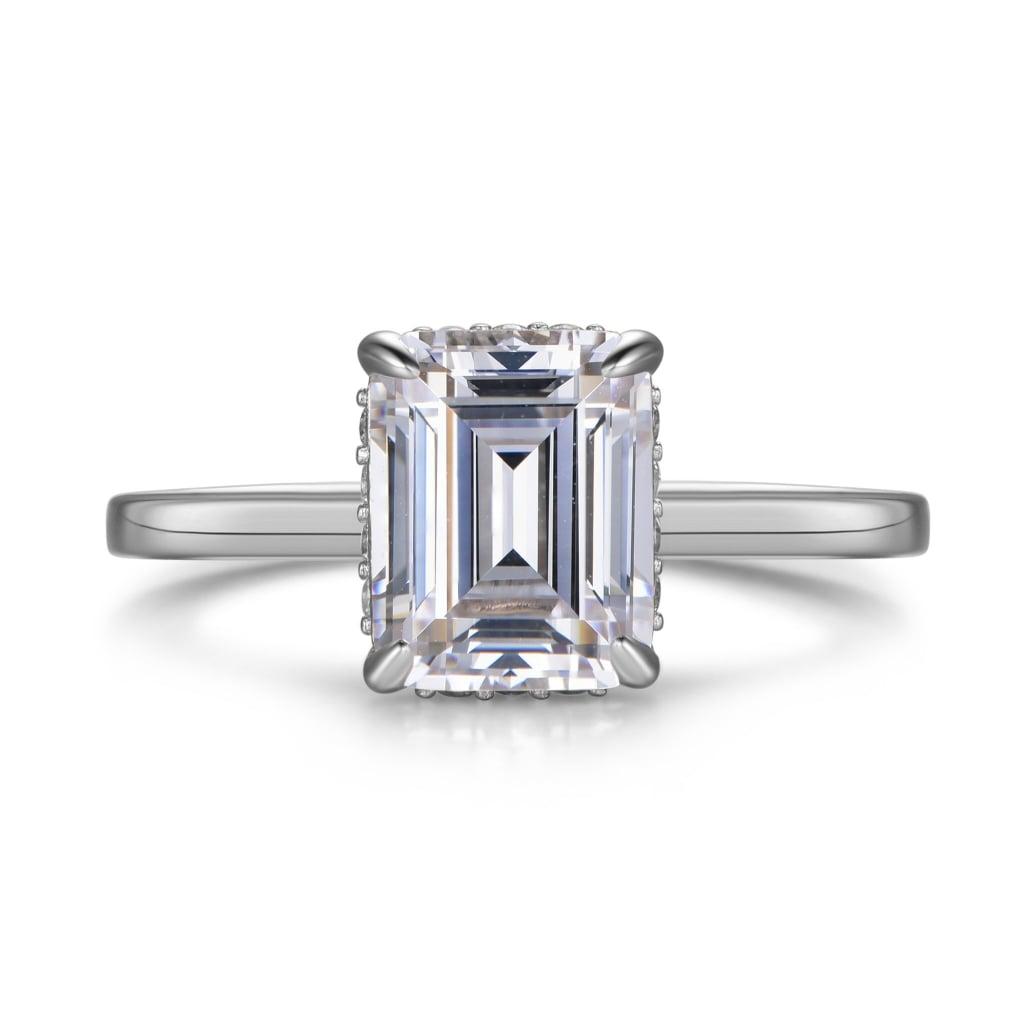 Labyrinth Diamonds 14K Gold Emerald Hidden Halo Diamond Solitaire Ring