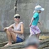 Naomi Watts and Sasha Schreiber wore matching hats in the sun.