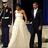 Michelle wore this white-shoulder Jason Wu gown with appliqué to the Inaugural Ball in 2009.