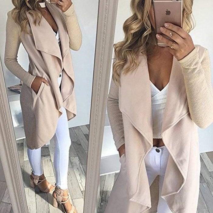 VintageRose Long-Sleeve Knit Coat