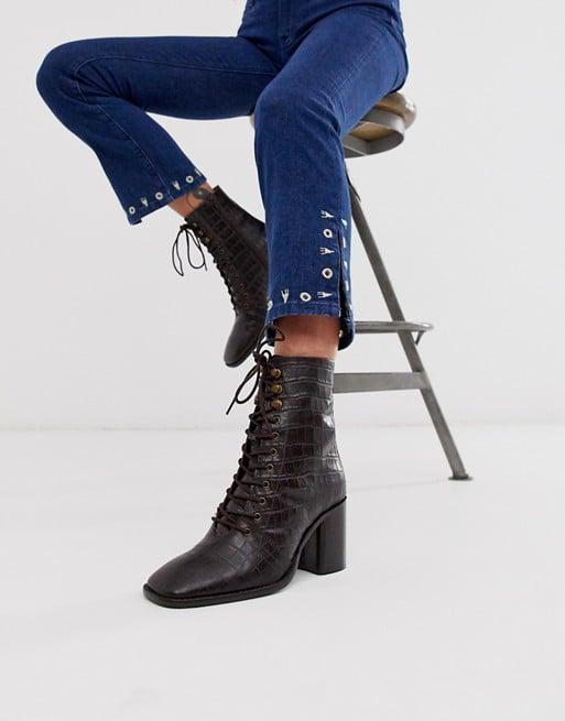 ASOS Design Rivet Leather Square Toe