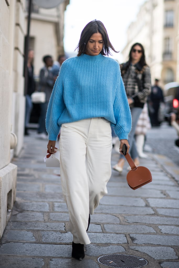 Mix a Bright Blue Jumper With a Brown Bag or Shoes and Separate With White Denim