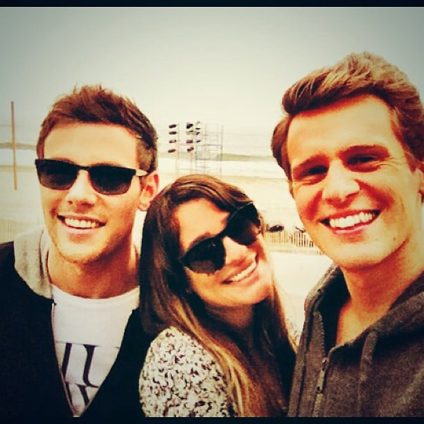 "She shared this photo of herself with her ""two favorite boys,"" Cory Monteith and Jonathan Groff, in June 2013. Source: Instagram user msleamichele"