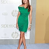 Melania's green gathered minidress came in an eye-catching kelly shade at the New York premiere of Sex and the City 2 in 2010.