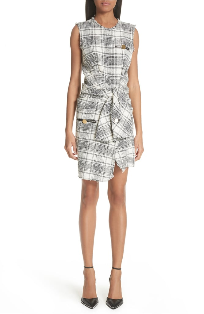 Alexander Wang Tie Waist Tweed Dress