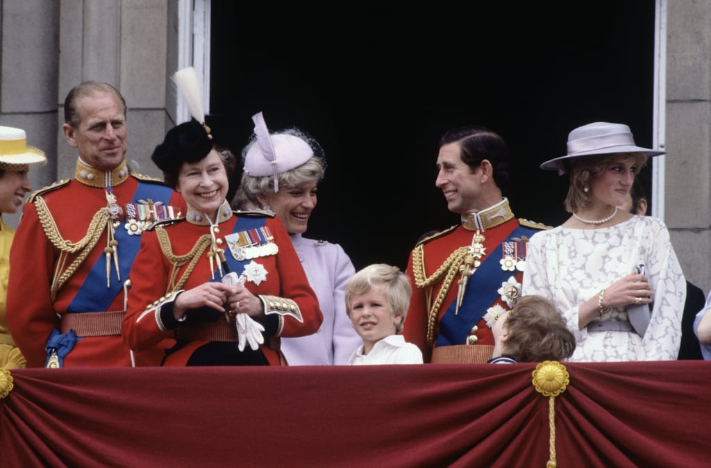 The queen beamed alongside her family during the 1983 Trooping the Colour ceremony in London.