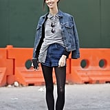Ruby Aldridge's denim-on-denim layers feel totally charming with a button-up and a snug knit to top them off.  Source: Le 21ème   Adam Katz Sinding
