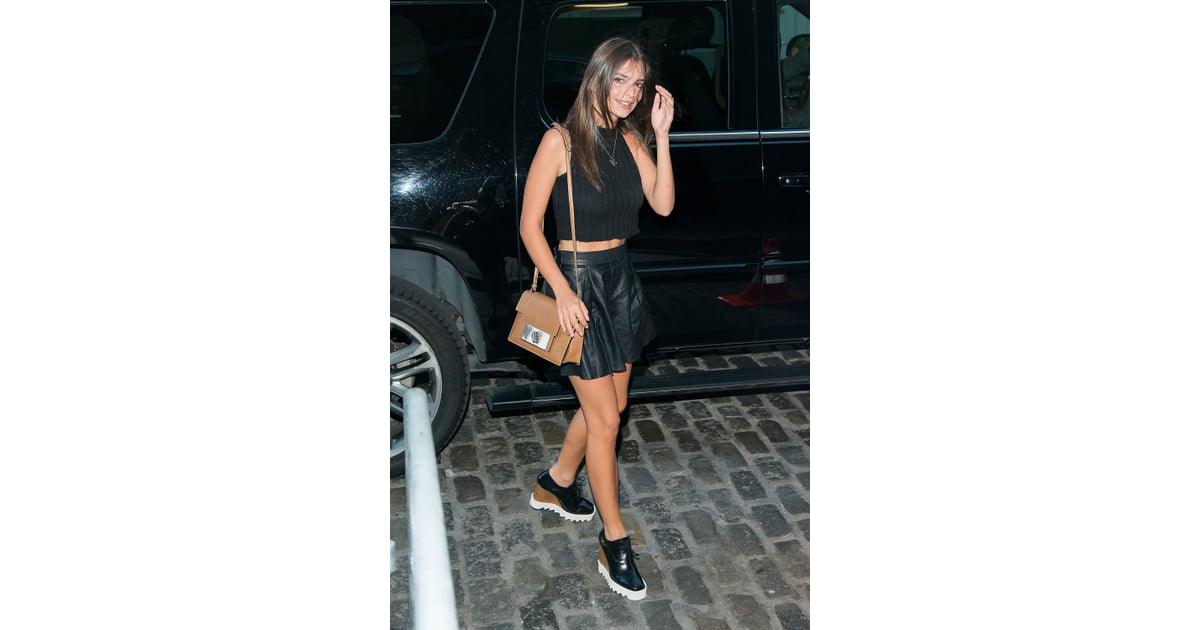 847f08ffc A Black Leather Skirt and Coordinated Crop Top | Kendall Jenner and Emily  Ratajkowski Matching Style | POPSUGAR Fashion Photo 19