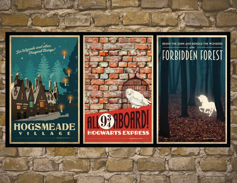 Set of 3 Travel Poster Harry Potter Prints ($35)