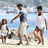 Halle Berry and Olivier Martinez played with Nahla on the beach in April 2012.