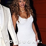 Beyoncé wore a svelte white dress.