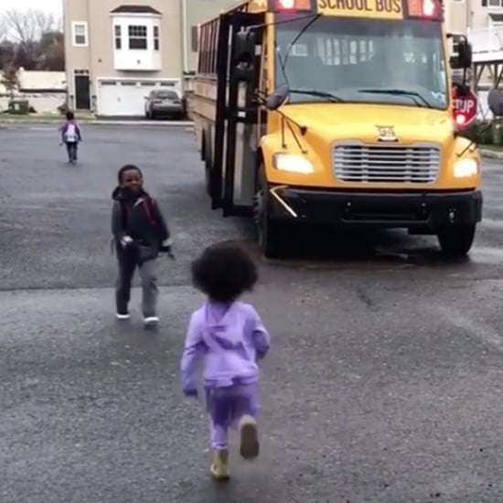 Sister and Brother Greet Each Other at the Bus Stop