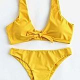 Romwe Bow Tie-Front Plunge Neckline Bikini Set