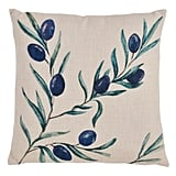 Madeline: Saro Lifestyle  Olive Branch Print Multicolored Throw Pillow