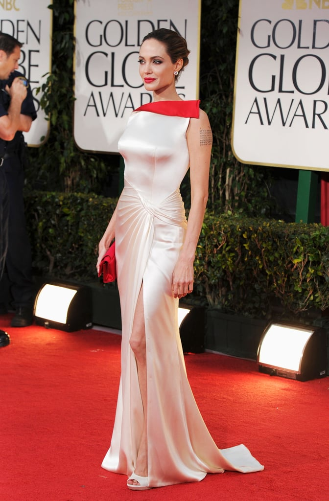 Angelina Jolie in Versace on the red carpet.