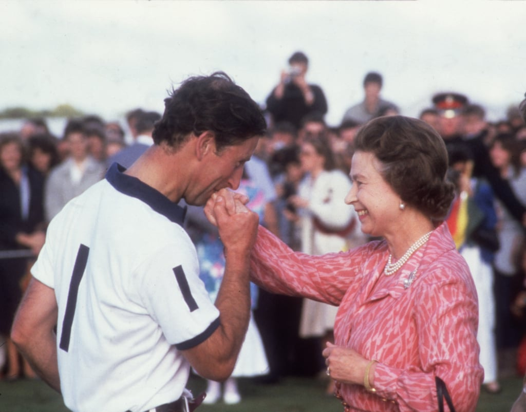This sweet moment between Prince Charles and the Queen was captured at a polo match in 1985.