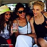 Dobrev took a ride with Jessica Szohr and Jessica Stam. Source: Instagram user ninadobrev