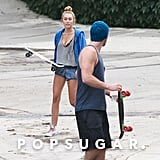 Liam Hemsworth talked with Miley Cyrus while they skateboarded around LA.