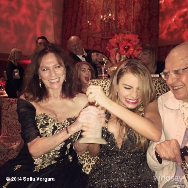 Later in the night, Sofia unsuccessfully tried to wrestle Jacqueline Bisset's Golden Globe award away from her.  Source: Instagram user sofiavergara