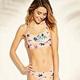Bralette Midkini Lace Trim Bikini Top and Bottoms