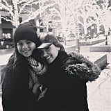 Selena Gomez shared this sweet, wintry snap of herself with longtime pal Demi Lovato. Source: Instagram user selenagomez