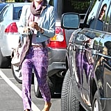 Alessandra Ambrosio doused herself in color in purple printed Ella Moss pants, a denim Joe's Jeans cropped blazer, and a two-tone scarf while out in LA.