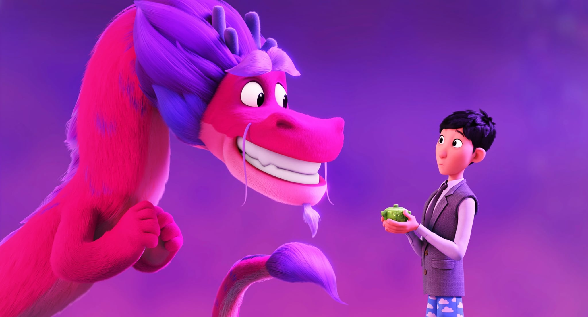 WISH DRAGON, from left: Long (voice: John Cho), Din (voice: Jimmy Wong), 2021.  Netflix /Courtesy Everett Collection