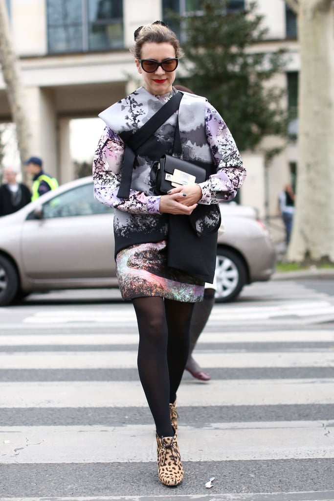 Natalie Joos proved leopard print goes with just about anything, even this statement-making abstract-print set.