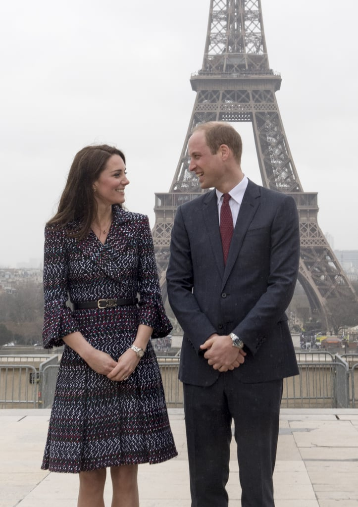 Kate and William posed for photographers in front of the Eiffel Tower during their visit to Paris.