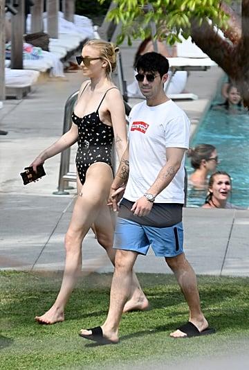 Sophie Turner Black Swimsuit With Joe Jonas in Miami