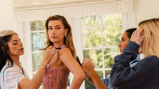 Hailey Bieber Gets Glammed Up in a Pink Versace Dress
