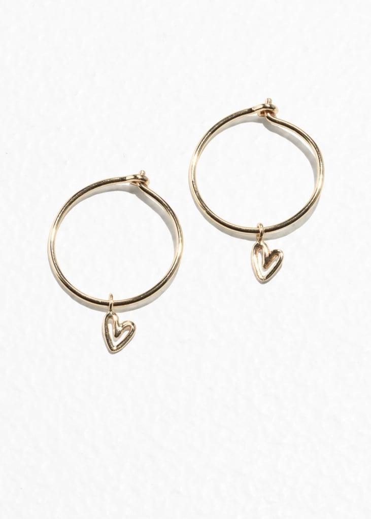 & Other Stories Mini Hoops With Heart Pendant Gold