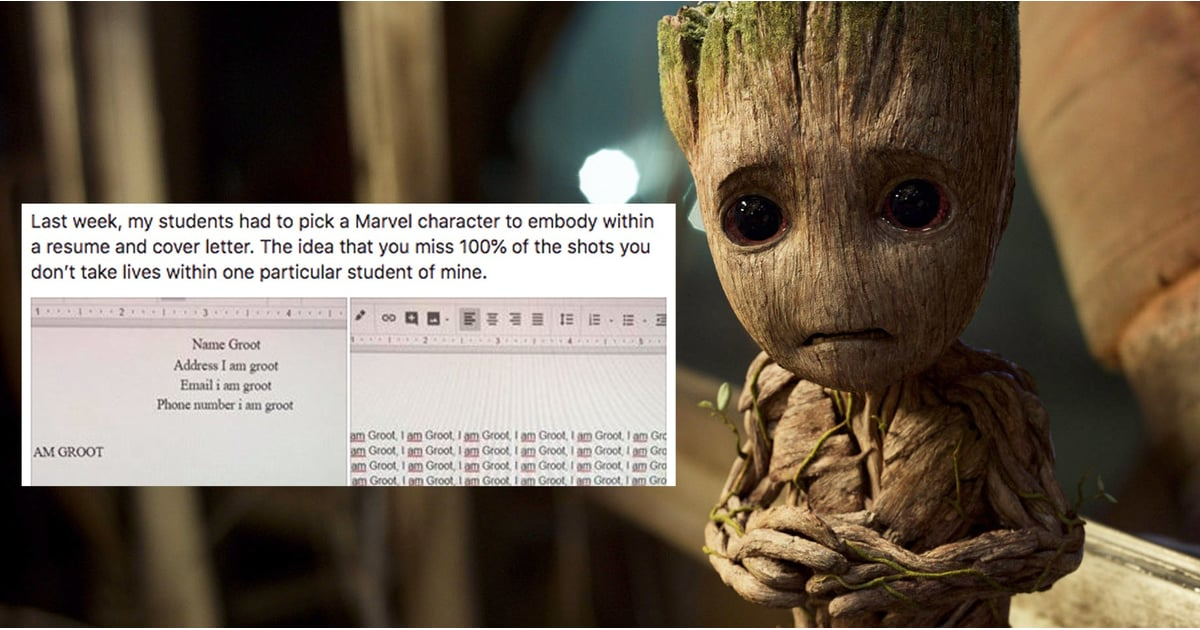 student writes resume and cover letter as groot