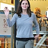 Jennifer Garner waved as she left Barneys in LA.