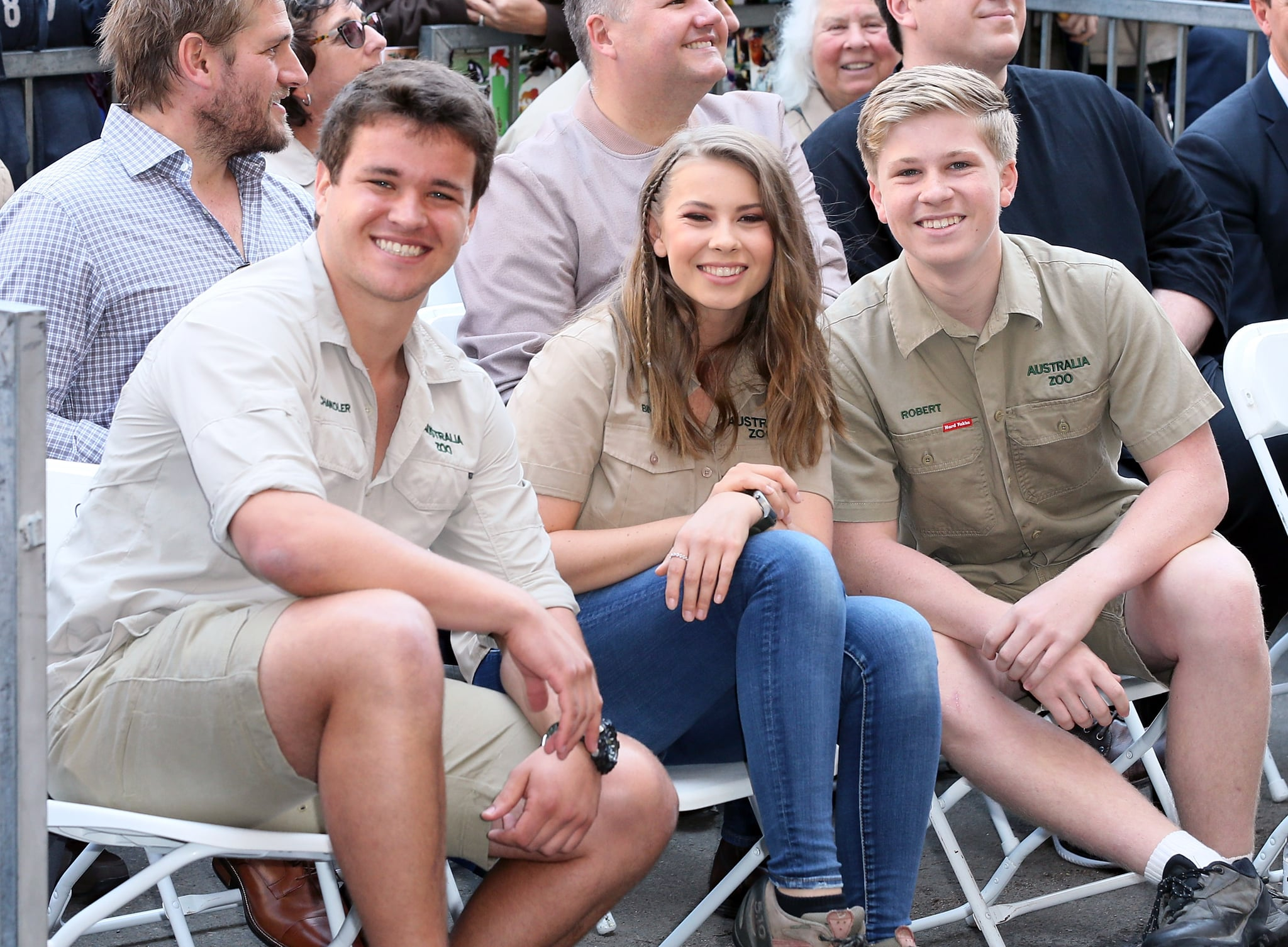 HOLLYWOOD, CA - APRIL 26:  (L-R) Wakeboarder Chandler Powell and conservationists/TV personalities Bindi Irwin and Robert Irwin attend Steve Irwin being honoured posthumously with a Star on the Hollywood Walk of Fame on April 26, 2018 in Hollywood, California.  (Photo by David Livingston/Getty Images)