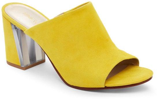 Nine West Citrine Yellow Gemily Block Heel Mules