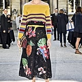 Hack: Complete a busy color story by cinching your waist with a complementing belt. The accessory always helps to add polish, especially during a season where you're working plenty of oversize silhouettes.
