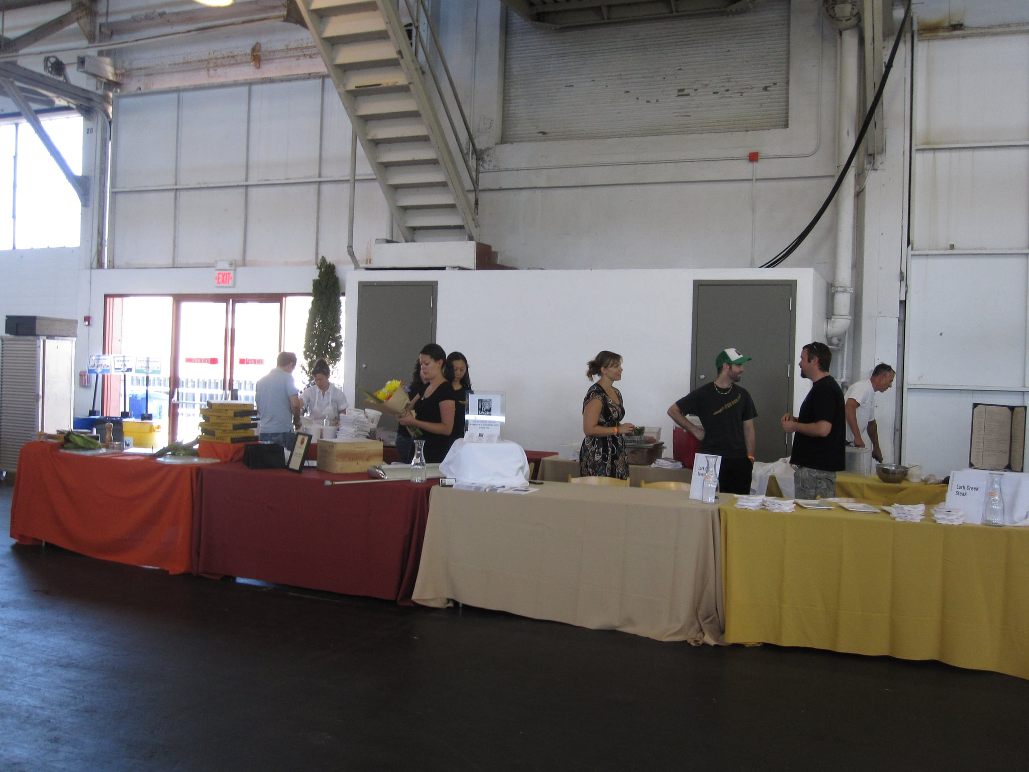 Some of the food teams set up shop.