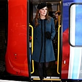 Kate Middleton exited a subway car.
