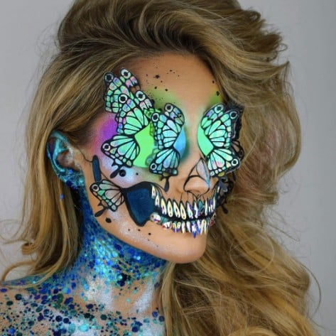 Holographic Unicorn Skull Halloween Makeup