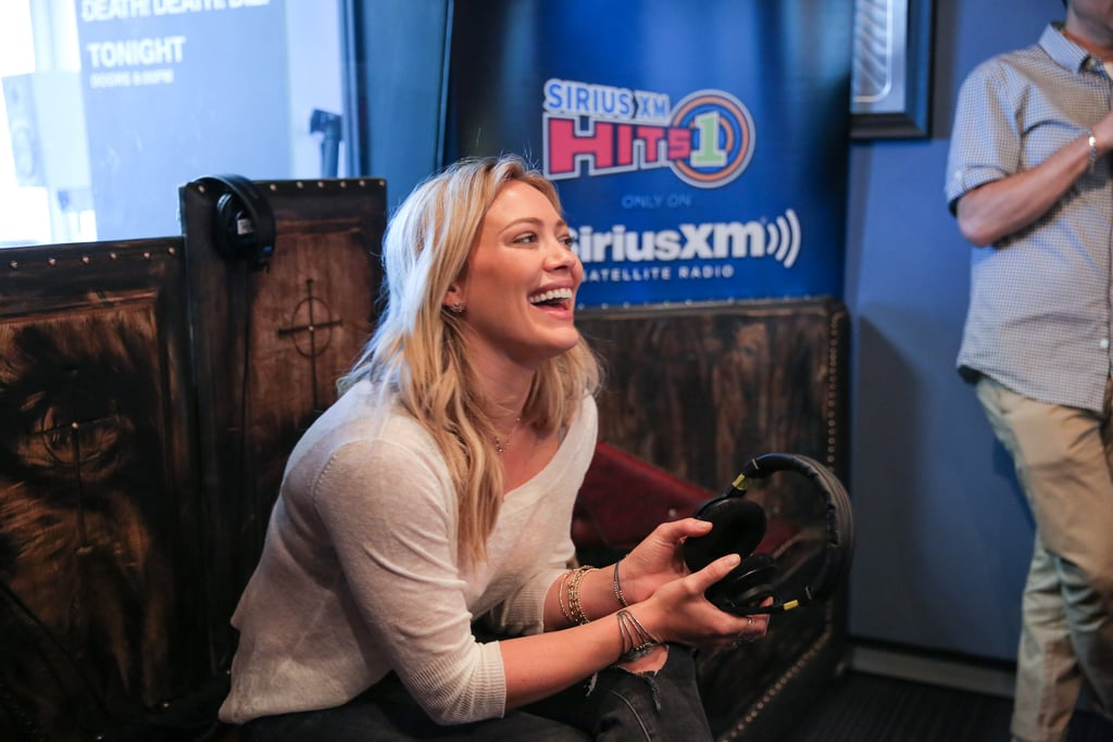 Hilary Duff let out a laugh while visiting Sirius Radio in LA on Wednesday.