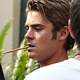 Zac Efron chewed on a pencil between takes.