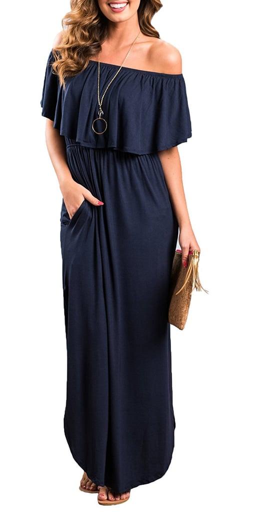 Oyanus Off the Shoulder Pockets Dress