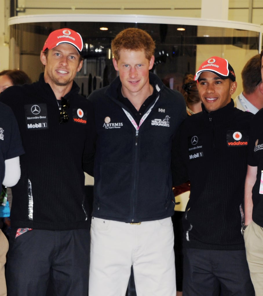 Prince Harry with Jenson Button at the British Grand Prix.