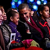 "During Obama's interview on The View, he shared a story from his 50th birthday party ""roast"": ""Malia and Sasha and a bunch of my friends and Michelle had sort of like a roast, a little private roast; each one of them read something and Malia and Sasha had written out why I am such a wonderful dad. And they had this list, it was so sweet, and one of the items on Malia's list was, 'You are just the right amount of embarrassing.'"""