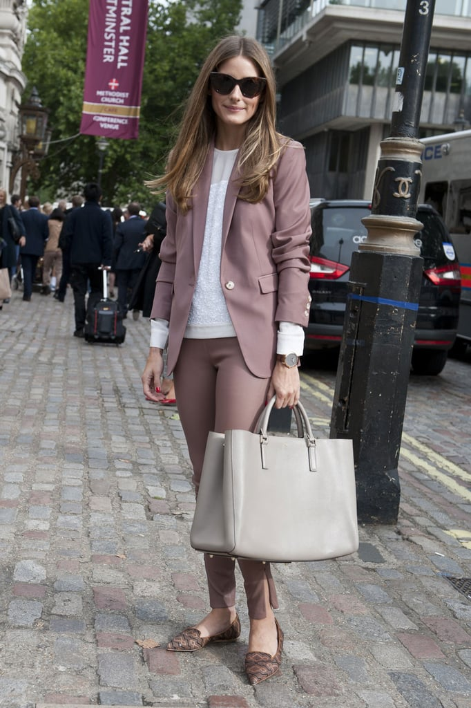 Olivia Palermo layers neutrals for a chic uptown look.